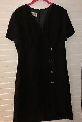 Evan-Picone Womens Black Purse & Shoes Buttons Shift Dress Sz 12