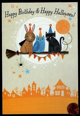 HALLOWEEN & BIRTHDAY Black Cat Own Rabbit Moon Broom Halloween Greeting Card