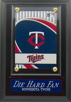 DIE HARD FAN MINNESOTA TWINS LOGO CARD PLAQUE FOR YOUR MAN CAVE WALL DECOR - Minnesota Twins Decorations