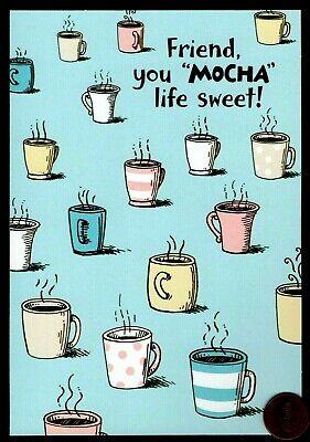 Birthday Coffee Greeting Card - Birthday Coffee Cups  Mocha -  Happiccino ( Inside) -  Birthday Greeting Card