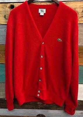 VINTAGE 70s IZOD Lacoste Men's Golf Sweater 6 Button Red Cardigan Size Medium