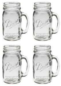 Bridal-Wedding-Set-4-Large-BALL-MASON-24-oz-Drinking-Glasses-Jars-with-Handles