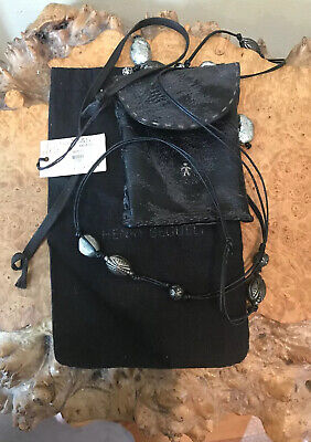 Henry Beguelin Cuir Small Black Leather Phone Bag Pouch ID Case Beaded Strap