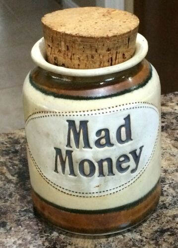 """Ceramic Coin Bank """"Mad Money"""" with Cork Lid"""
