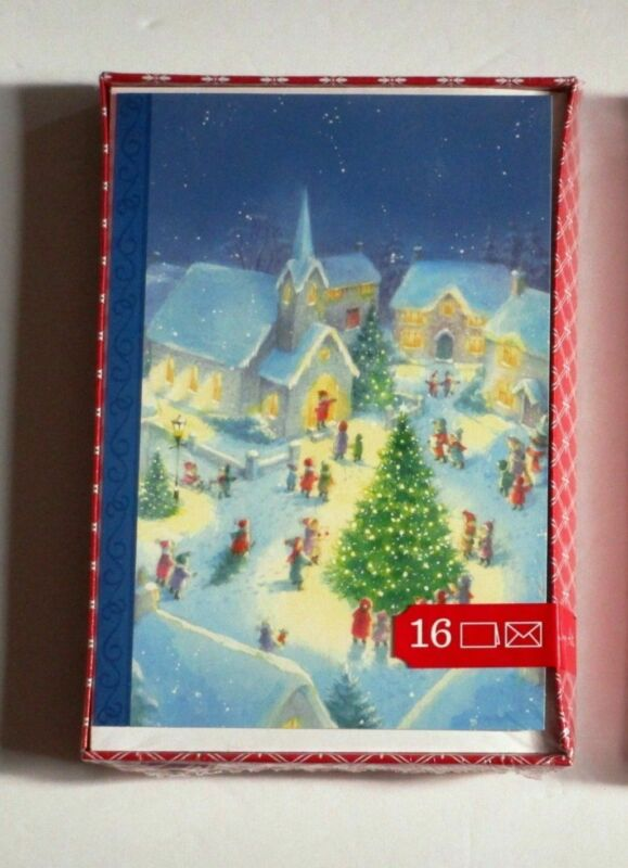 Christmas Boxed Cards Church Village Square Tree Blue Background 16 pcs