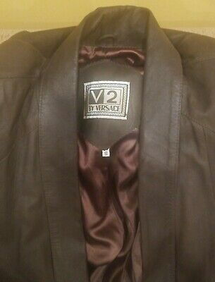 Vintage Versace Classic V2 Women's Brown Leather Jacket Blazer Coat