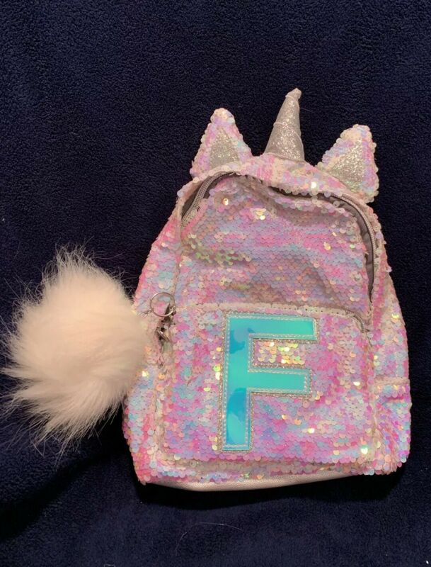 Justice Girls Initial J Mini Backpack Unicorn Reversible Flip Sequins Gold NWT