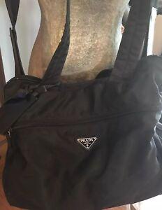 Prada Tessuto Nero Black Nylon Soft Side Travel/Tote/Duffle Bag Removable Strap!