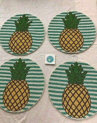"""Four Secret Celebritity 15"""" Round Beaded PLACEMATS Pineapples NEW Summer"""