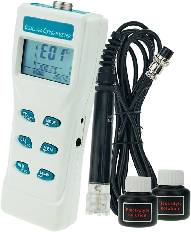TEKCOPLUS Portable Digital Large LCD Display Dissolved Oxygen DO Sensor Meter