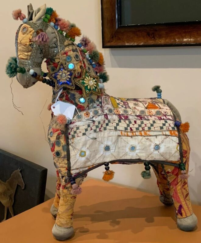 Large Vtg. Mid Century Indian Handmade Rajasthan Fabric Patchwork Horse Folk Art