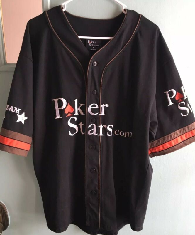 Men's Medium Preowned Pokerstars Black Baseball Jersey