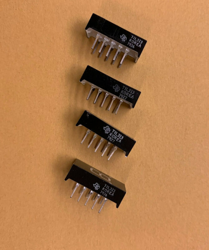 SET of 4 TIL313 TI TEXAS INSTRUMENTS RED ALPHANUMERIC LED
