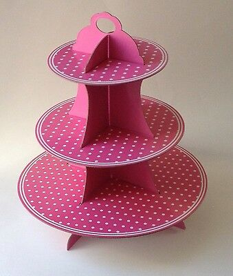 Expediate 3 Tier Cupcake Stand Cardboard Pink Polka Dot Wedding Party Cake  - Cardboard Cake Stand