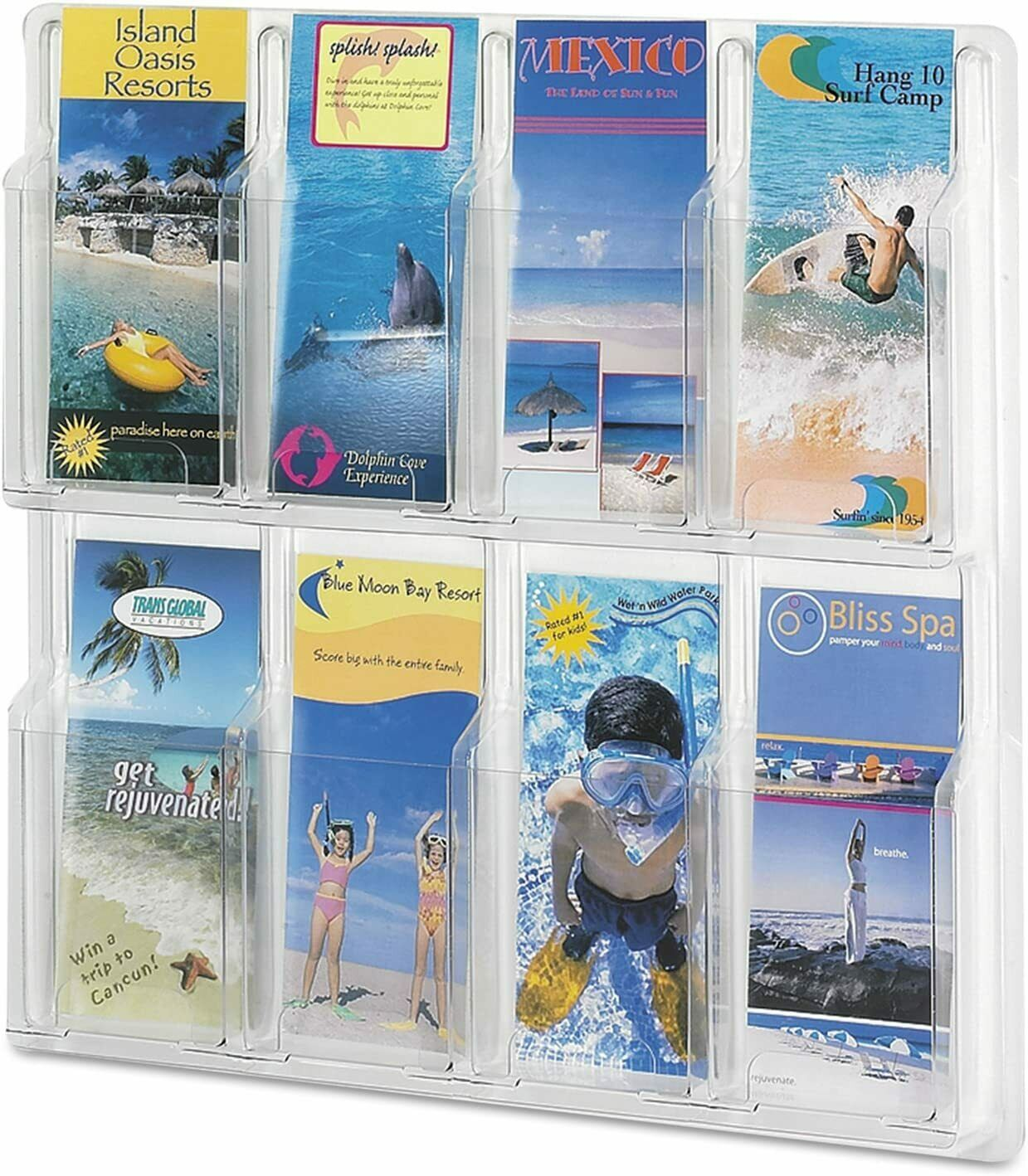 """Safco 5608CL Magazine Literature Display, 8 Pamphlet Pockets 20.5"""" x 20.5"""" Clear"""