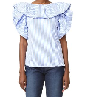 Striped statement sleeve top XS - brand new w tags