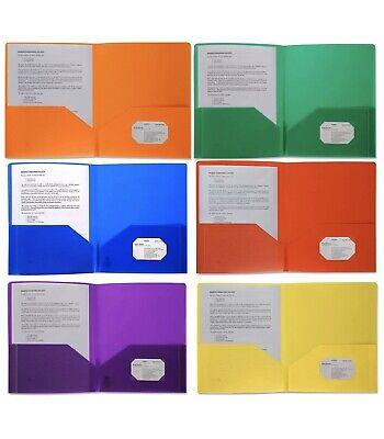 Plastic Pocket Folders Heavy Duty Durable Poly 2 Pocket Folder 6 Pack Colored