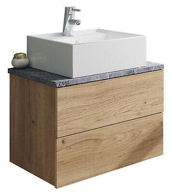 Mueble baño moderno imitacion marmol color roble con lavabo 60x45 Sin Espejo