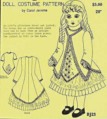 "20""ANTIQUE FRENCH BEBE  BRU/JUMEAU GERMAN DOLL@1890 DRESS&JACKET PATTERN"
