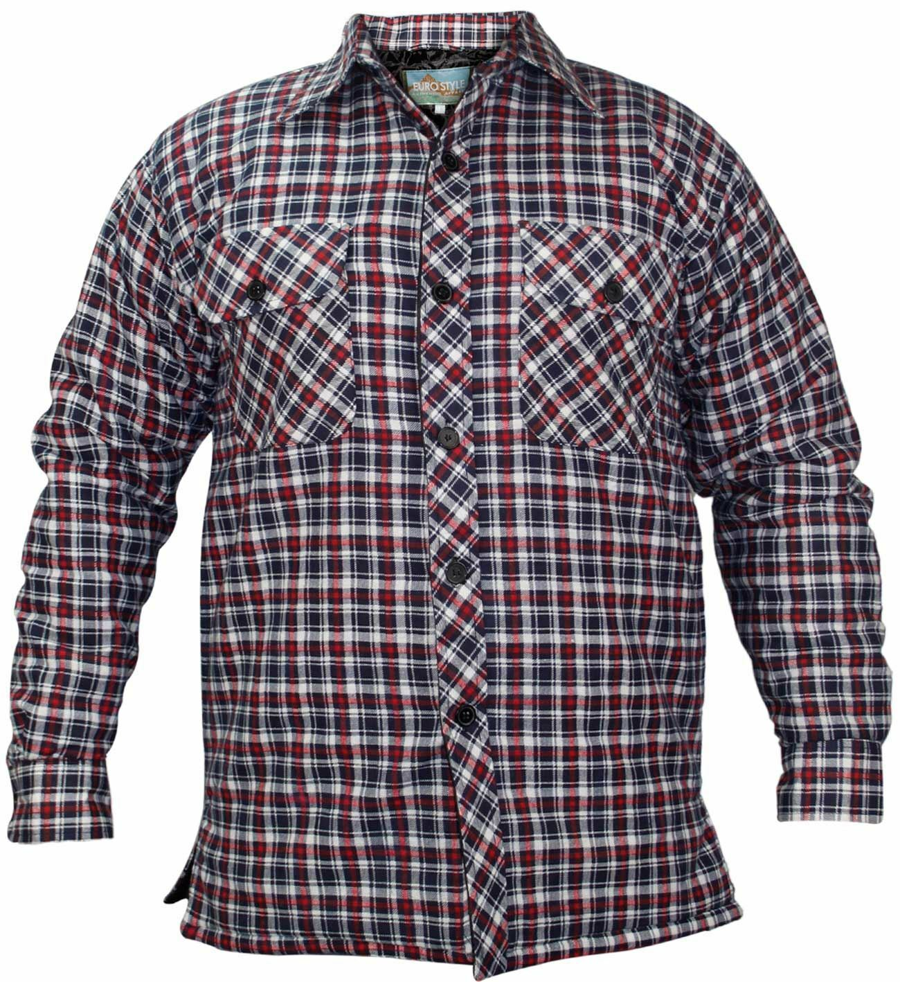 Mens Padded Quilted Lined Lumberjack Check Flannel Winter