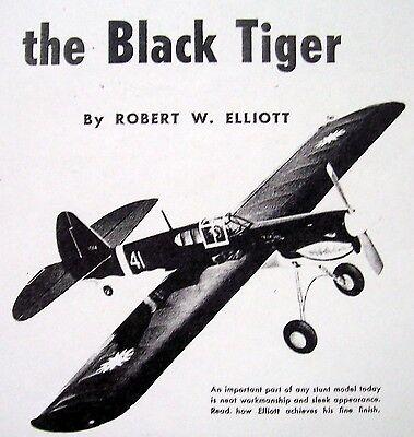 Vintage P-40 Black Tiger Uc Ots Two Model Airplane Plans Berkeley+ 1953 Article