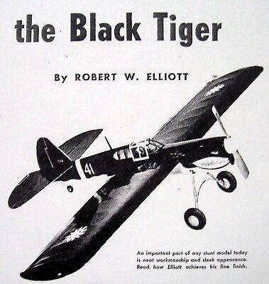 Vintage P-40 Black Tiger Uc Ots Two Model Airplane Plans Berkeley+ 1953 Article