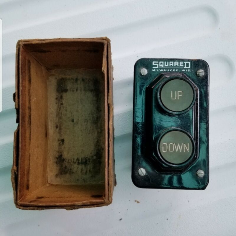 Antique  Squarre D Company Elevator Control Buttons, push button control station