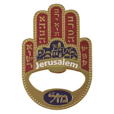 Hamsa MAZAL Bottle Cap Opener Fridge MAGNET Israel Kabbalah Evil Eye LUCKY -
