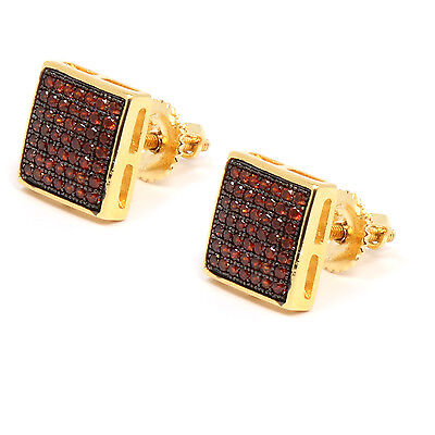 Mens 14K Gold Plated Red CZ Micro Pave Hip Hop Dome Stud Earrings Red Mens Earring
