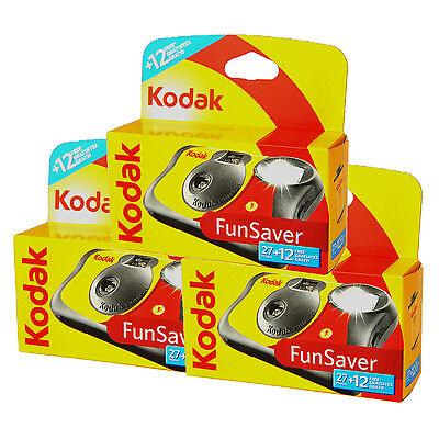 3x Kodak Fun Flash Disposable / Single Use Camera 39 Exposures