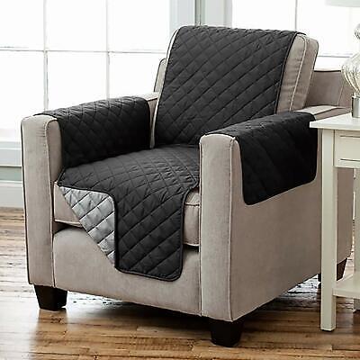 Wende Sesselschoner Sesselauflage RELAX mit Armlehnen und Taschen schwarz grau
