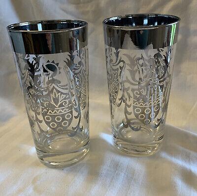 2 Vintage Kimiko Tumblers Shield Silver Trim Drinking Glasses