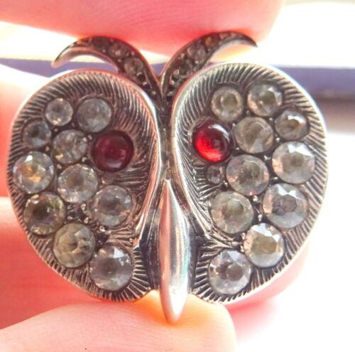 Antique Silver Georgian-Victorian Black Dot Paste Owl Brooch