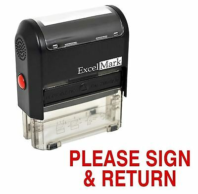 Rubber Stamp Please Sign (ExcelMark PLEASE SIGN and RETURN Self Inking Rubber Stamp A1539 | Red)