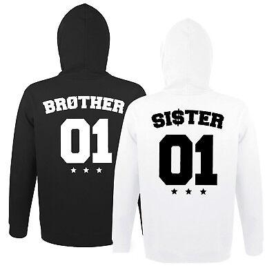 Brother Sister Bruder Schwester Hoodie Pullover im SET BFF m. Wunschzahl BRO SIS Bruder Hoodie