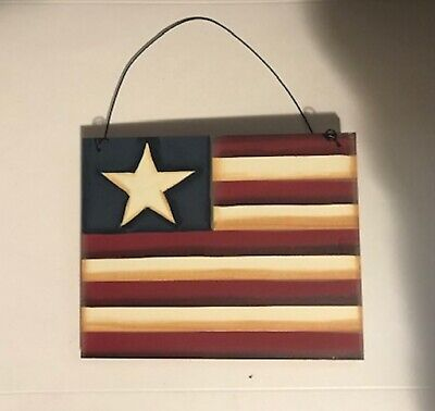 American wood flag stars country primitive Americana Patriotic decor sign 6x4