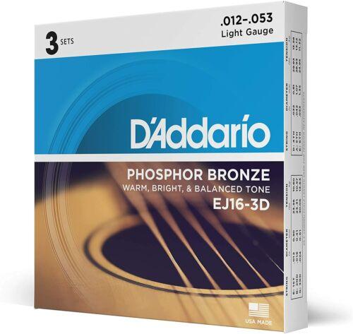 3 PCs EJ16-3D Phosphor Bronze Acoustic Guitar Strings, Light Tension – Corrosion