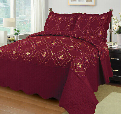 Quilted Embroidery (3 Pcs Polyester Bedspread Quilted Bed Cover Embroidery Coverlet Quilt Set )