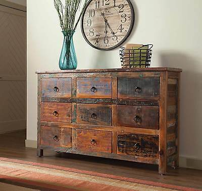 ARTSY RUSTIC RECLAIMED WOOD 9 DRAWER STORAGE CHEST CABINET