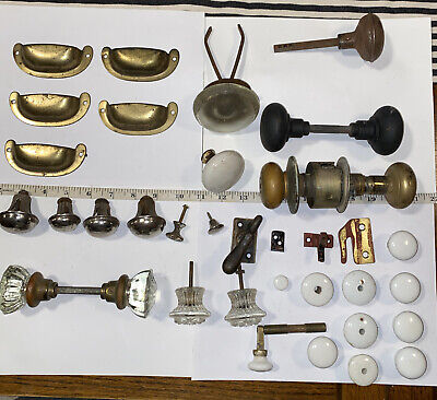 Lot Of Vintage Glass Metal And Porcelain Door Knobs And Handles