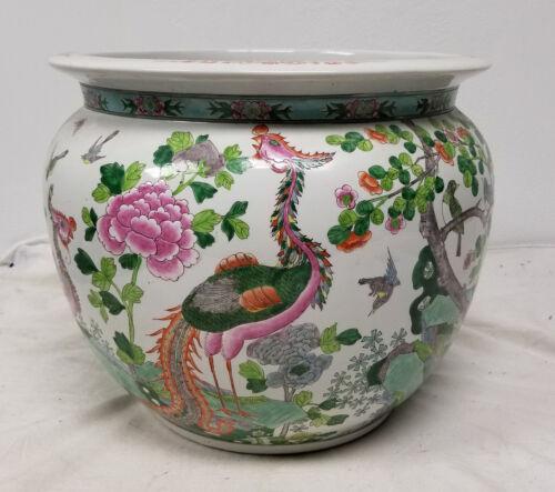 Antique Style 20th Century Chinese Famille Verte Jardiniere Fish Bowl Phoenix