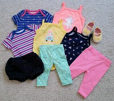 Lot of Spring/Summer Baby Girl Clothes, Sz 3-6 m: 5 Bodysuits 3 Pants 1 Pr Shoes