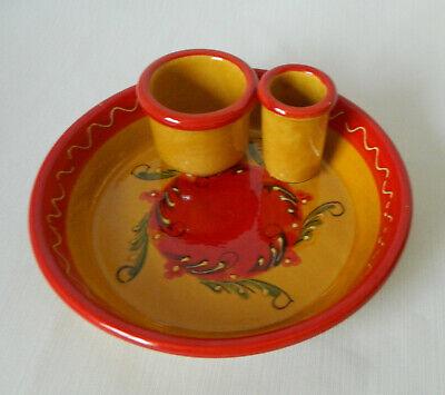Retro Red Orange Chip & Dip Bowl Glazed Ceramic Hand Painted Unbranded 7 1/4