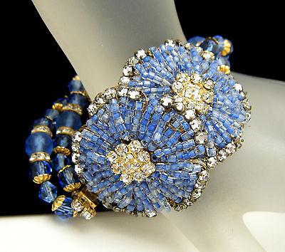 Unsigned Designer Vintage Bracelet Seed Beads Rhinestone Rose Montee Filigree on Lookza