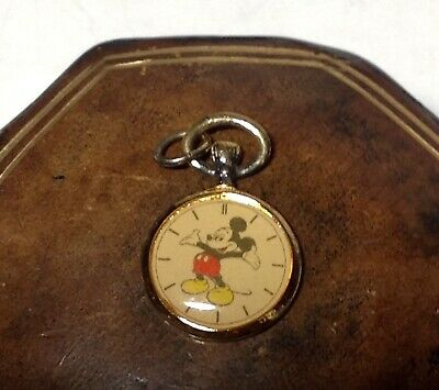 Vintage Walt Disney 3D Mickey Mouse Pocket Watch-Gold-Tone Charm Bracelet Charm