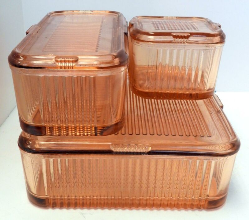 Set of Three Pink Glass Ribbed Refrigerator Dish Set with Covers