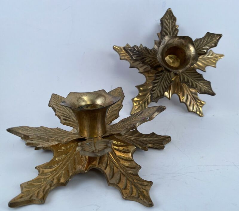 Set Of 2 Vintage Brass Poinsettia Holly Leaf Christmas Candlestick Holders MCM