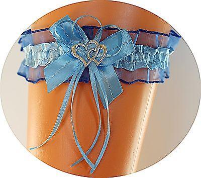 Braut Strumpfband dunkel-blau mit 2 Herzchen, Schleife und Silbernaht Hochzeit
