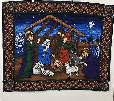 Nativity Christmas Wall Tapestry Hanging Manger Scene Baby Jesus Mary 42 x 34 ()