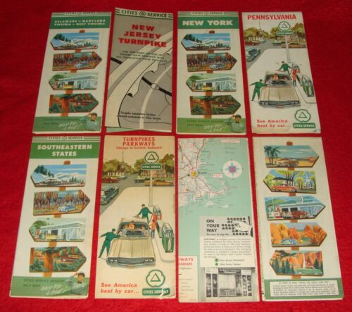 8 Vintage Cities Service Oil Co. Gas Service Station Road Maps 1950-64 aka Citgo